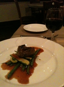 Filet with Balsamic Reduction, Squash and Green Beans, Mission Table