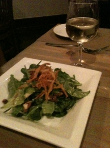 Arugula Salad with Candied Nuts and Champagne Vinaigrette, Mission Table